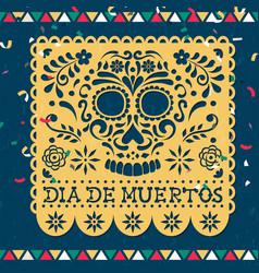 Day dead papercut mexican skull card vector