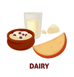 Delicious dairy products from farm full of useful vector