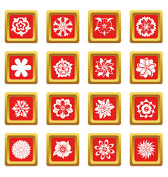 Different flowers icons set red vector