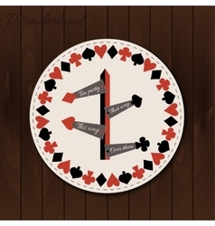Direction signs - drink coaster from Wonderland on vector