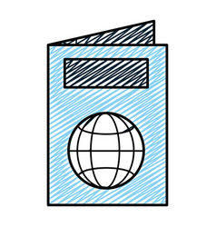 doodle passport id document international travel vector image