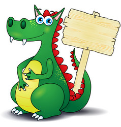 Dragon and wooden sign vector