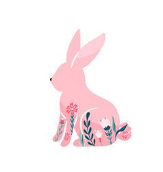 easter bunny pink rabbit vector image