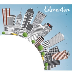 Edmonton Skyline with Gray Buildings Blue Sky vector