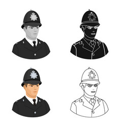 English policeman icon in cartoon style isolated vector