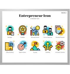 entrepreneur icons linecolor pack vector image