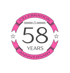 Fifty eight years anniversary celebration logo vector