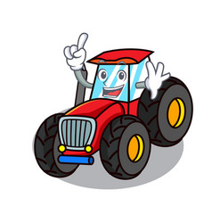 Finger tractor mascot cartoon style vector