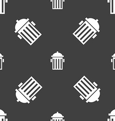 fire hydrant icon sign Seamless pattern on a gray vector image