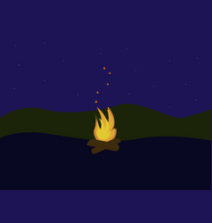 fire in forest on white background vector image