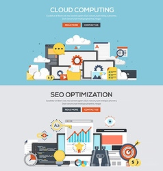Flat design concept banner Cloud computing vector image