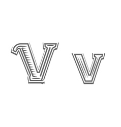 Font tattoo engraving letter V vector