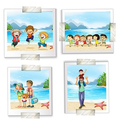 Four different pictures at the beach vector