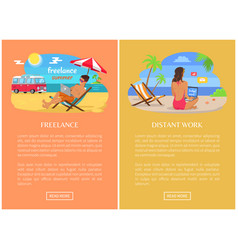 Freelance and distant work promo web pages set vector