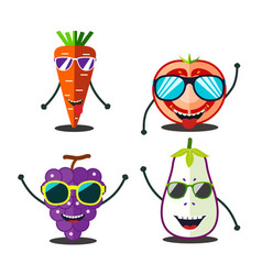Funny fruits set vector