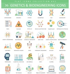 Genetics and bioengineering flat icon set vector