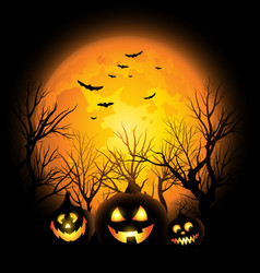 Halloween background full moon and jack o vector