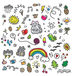hand draw colored cat birds rainbow and other vector image