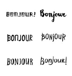 Hand drawn bonjour phrases vector