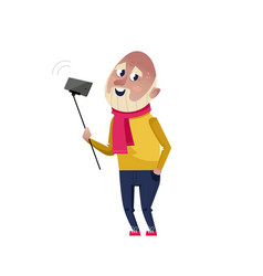 Handsome mature man doing selfie character vector