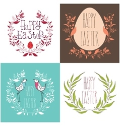 Happy Easter festive greeting card set with floral vector image