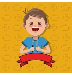 Happy kid holding fork and knife emblem image vector