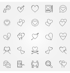 Hearts line icons set vector