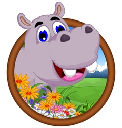 Hippo cartoon in frame vector