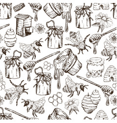 honey bee seamless pattern sketch hand drawn vector image