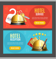 hotel reception service banner horizontal set with vector image