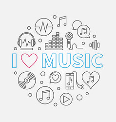 I love music circular in thin vector