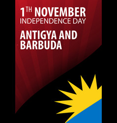 independence day of antigua and barbuda flag and vector image