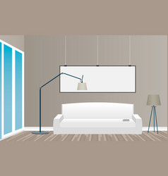 interior mockup in loft style with empty frame vector image