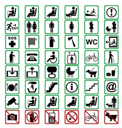 International signs used in tranportation means vector image