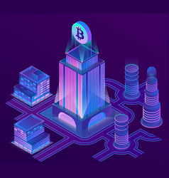 Isometric city in ultra violet colors vector