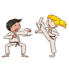 Kids doing martial arts vector image