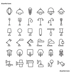 Lamp outline icons perfect pixel vector