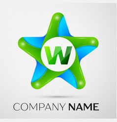 Letter w logo symbol in the colorful star on grey vector