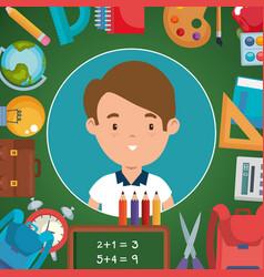 Little boy with school supplies vector