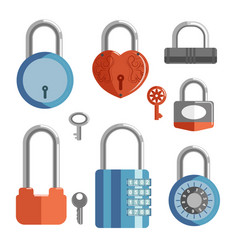 locks with keys and closed padlocks in different vector image