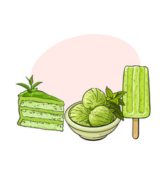 Matcha green tea ice cream cake popsicle vector