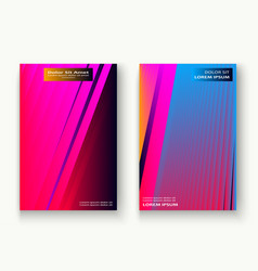 minimal cover set design neon blurred pink blue vector image
