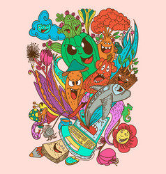 mix doodle monster and nature vector image