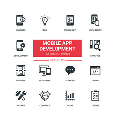mobile app development - flat design style icons vector image