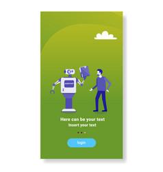 modern robot giving businessman documents folder vector image
