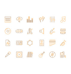 musicians icons audio recording studio tools vector image