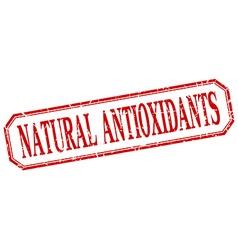 Natural antioxidants square red grunge vintage vector