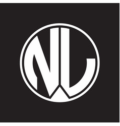 Nl Logo Monogram With Piece Circle Ribbon Style Vector Image