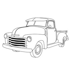 Old american pick-up truck - reto pickup car vector
