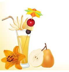 pear juice in a glass with a flower vector image